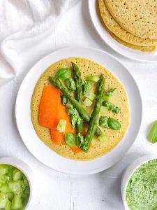 Read more about the article Galettes de pois chiches, asperges et crème aux herbes